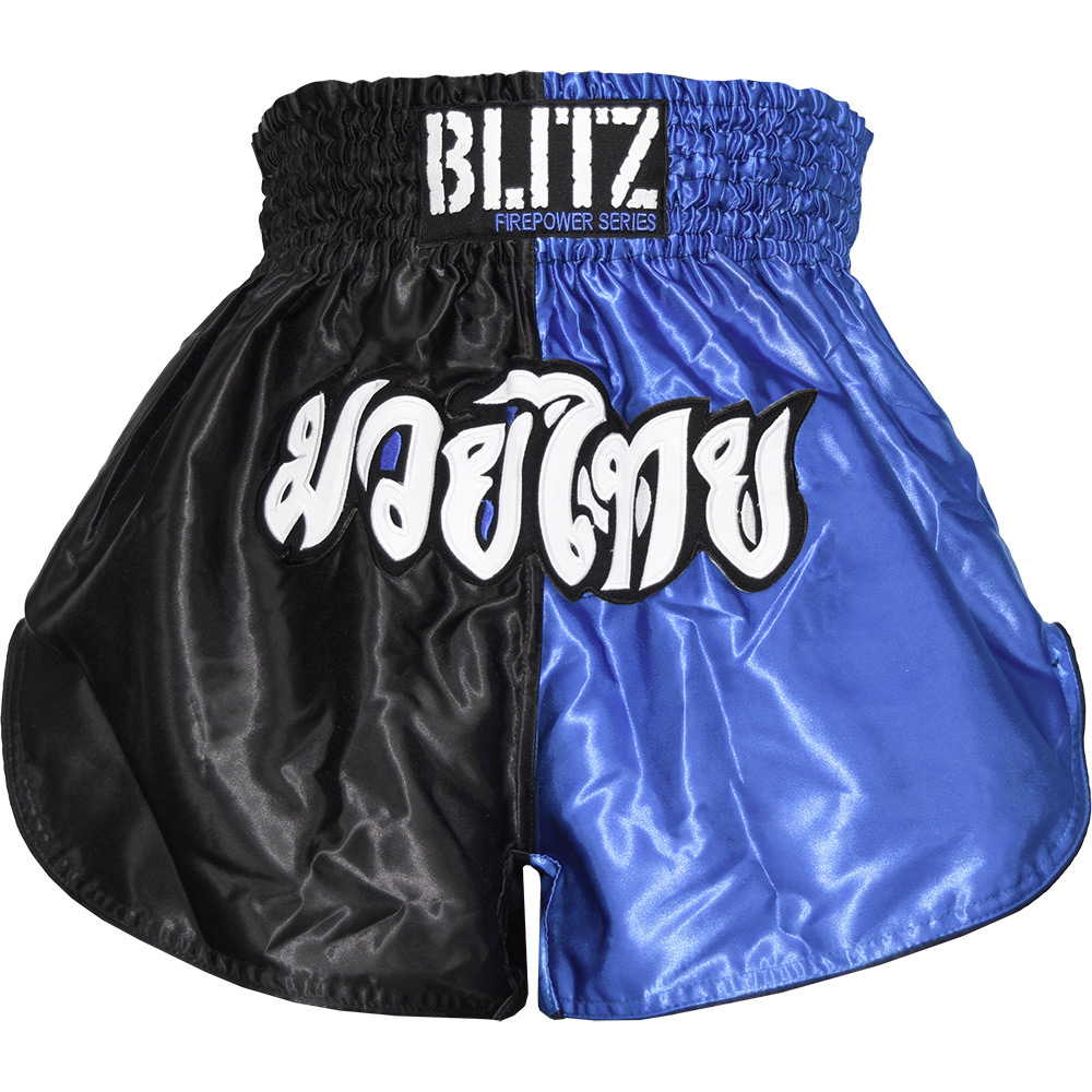 Blitz Adult Muay Thai Shorts - Blue/Black