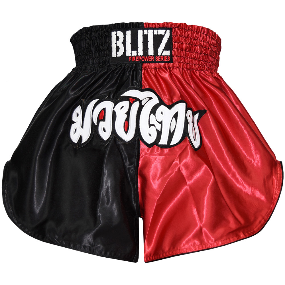 Image of Blitz Adult Muay Thai Shorts - Red / Black