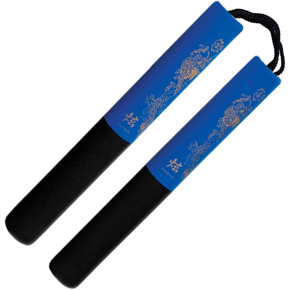 Image of Blitz Black / Blue Foam Safety Cord Nunchaku 12 Inch